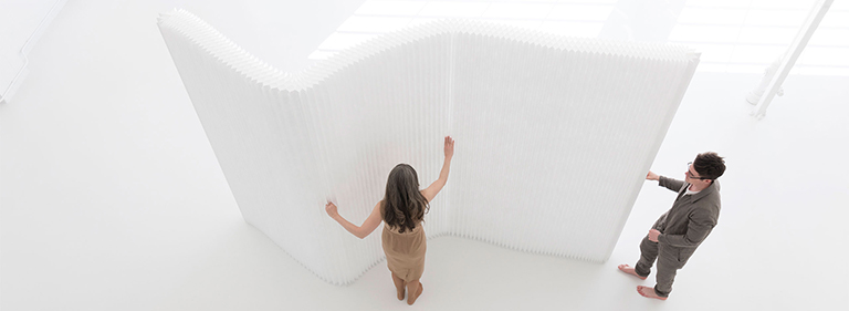 flexible acoustic space partition - Textile Softwall - Flexible Room Dividers