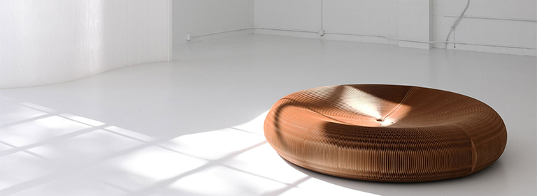 Light falls over a softseating lounger.
