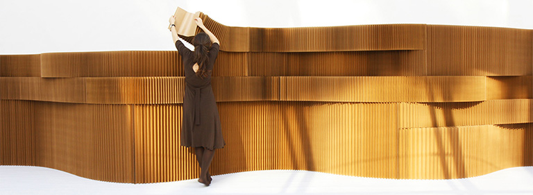 paper architecture built from molo softblock. A folding wall system for flexible interior partitions.