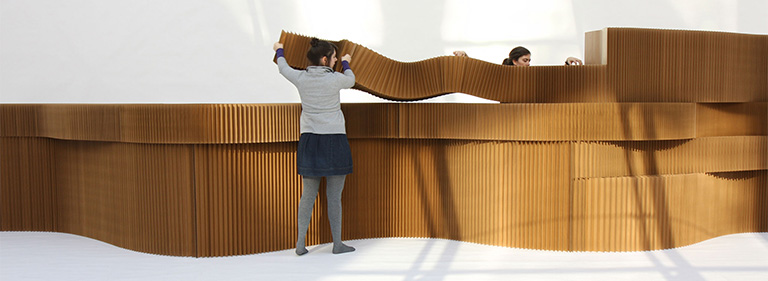 cardboard wall - flexible room divider - acoustic partition - designed by molo