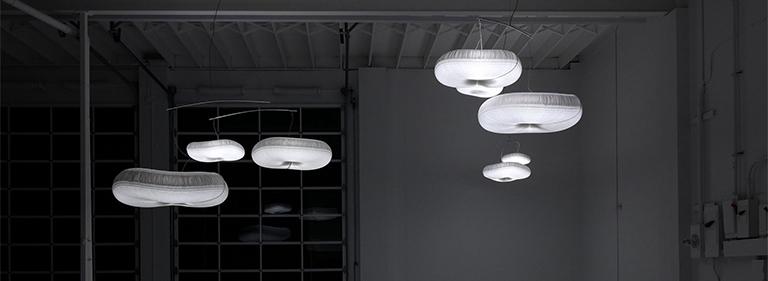 Illuminated cloud softlight mobile.