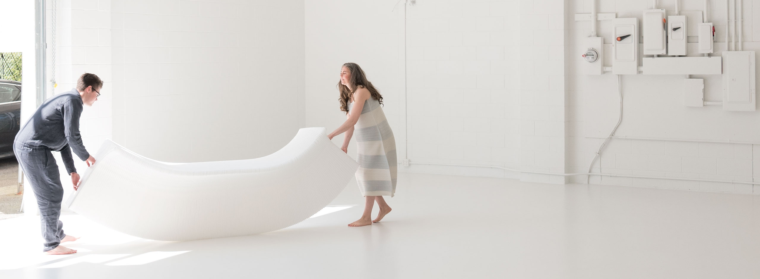 This folding table belongs to the molo collection of expanding paper furniture.