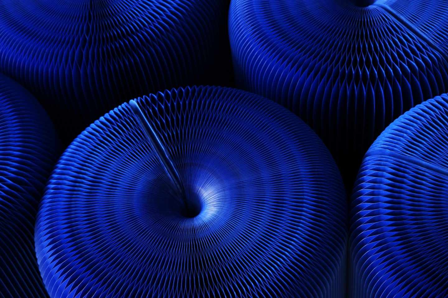 detail of indigo blue softseating fanning stool + bench