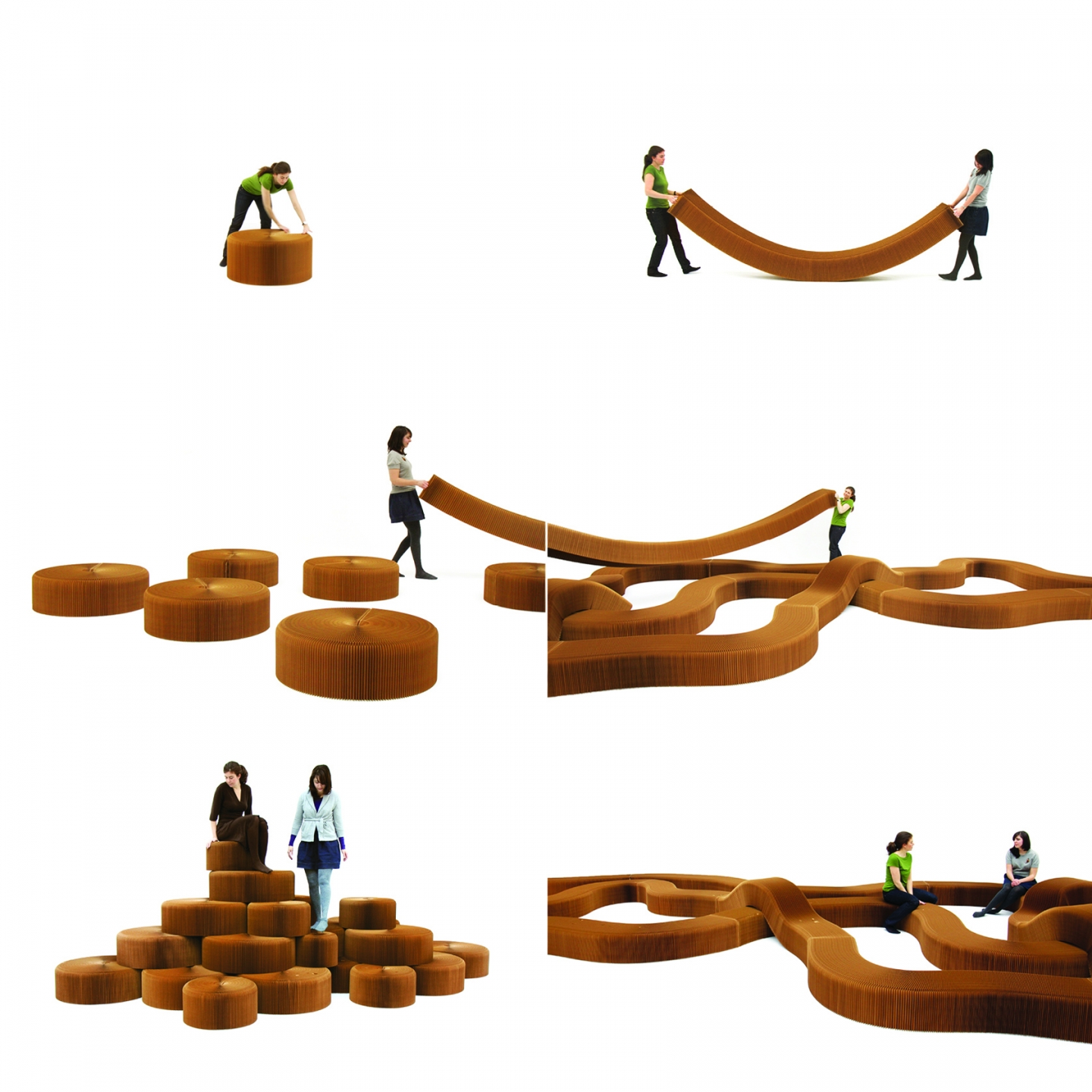 a sequence of images demonstrating how to create different seating topographies from molo's softseating fanning stool + bench