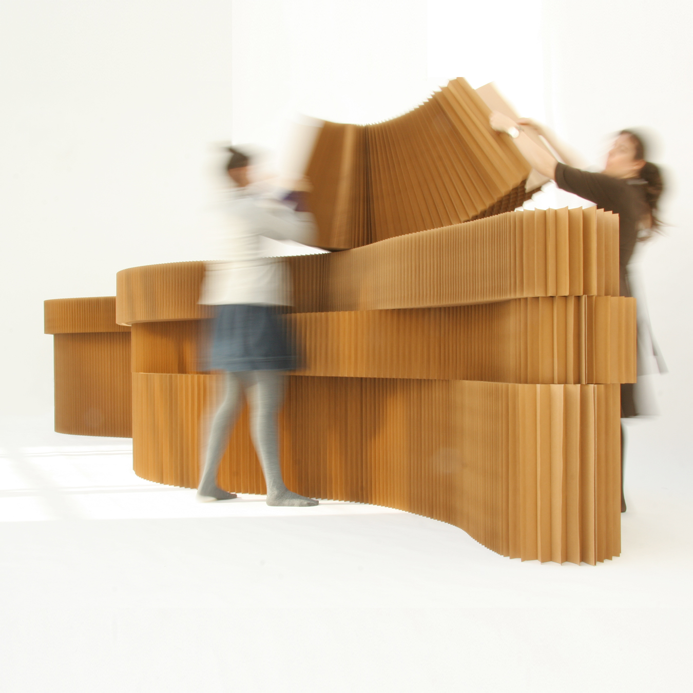 Stacking brown paper softblocks - moveable modular wall divider system