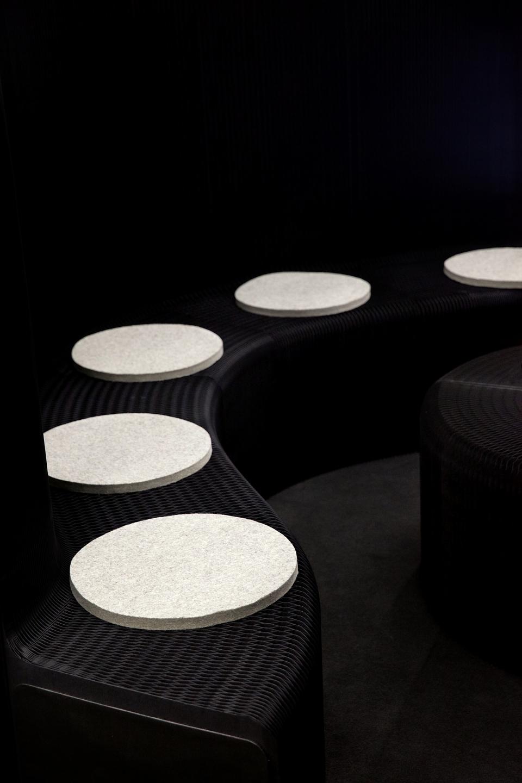 custom accordion paper furniture in black by molo -