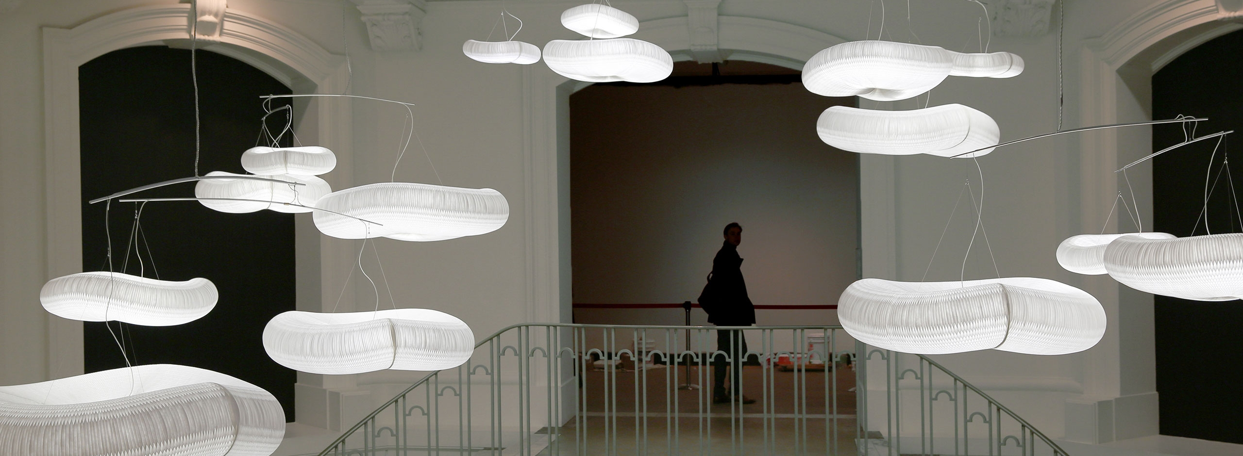 """cloud mobiles installed in the Vancouver Art Gallery's """"Grand Hotel"""" exhibition"""