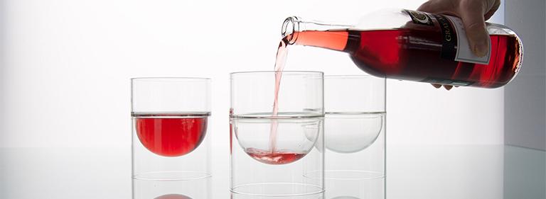 float glassware - barware - red wine into float wine cups