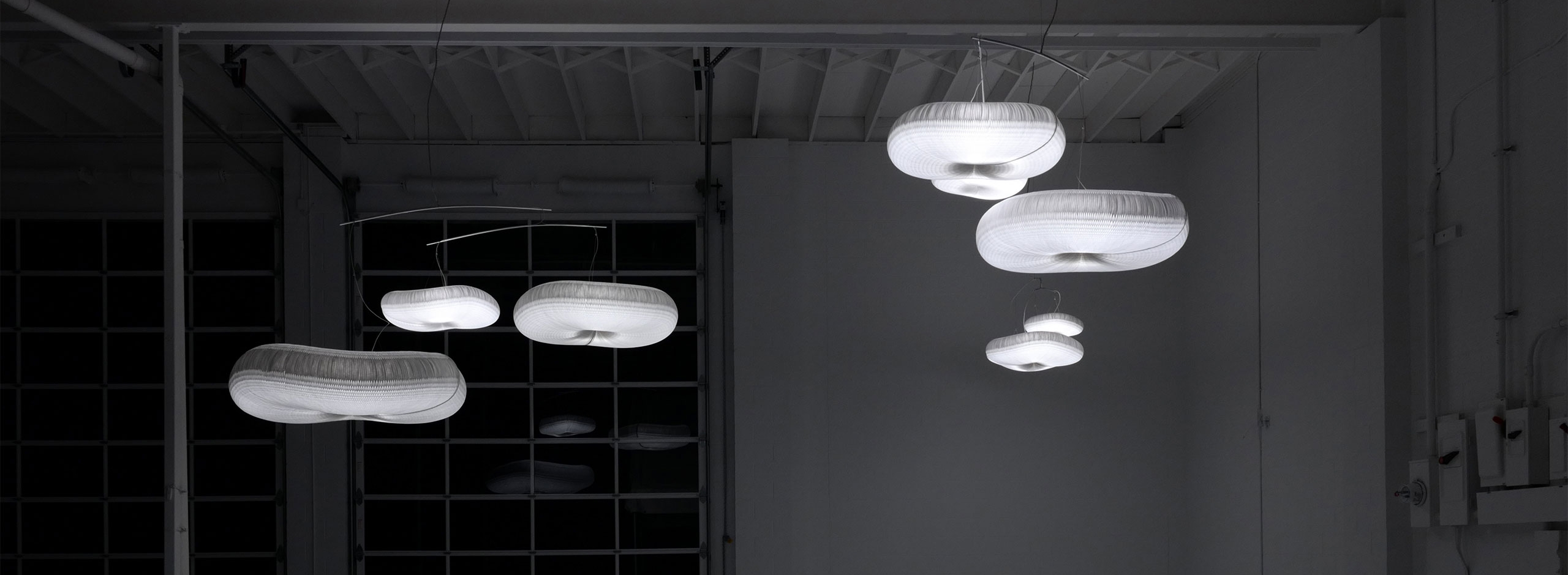 cloud lamp paper light called cloud mobile by Stephanie Forsythe and Todd MacAllen.