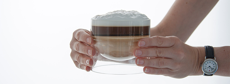 Hot cocoa in a float glassware