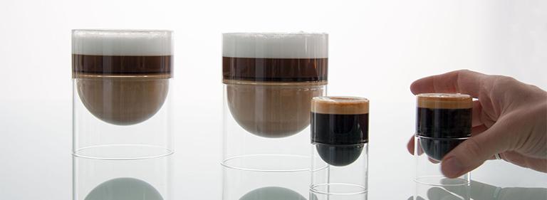 cappuccino and espresso in float glass
