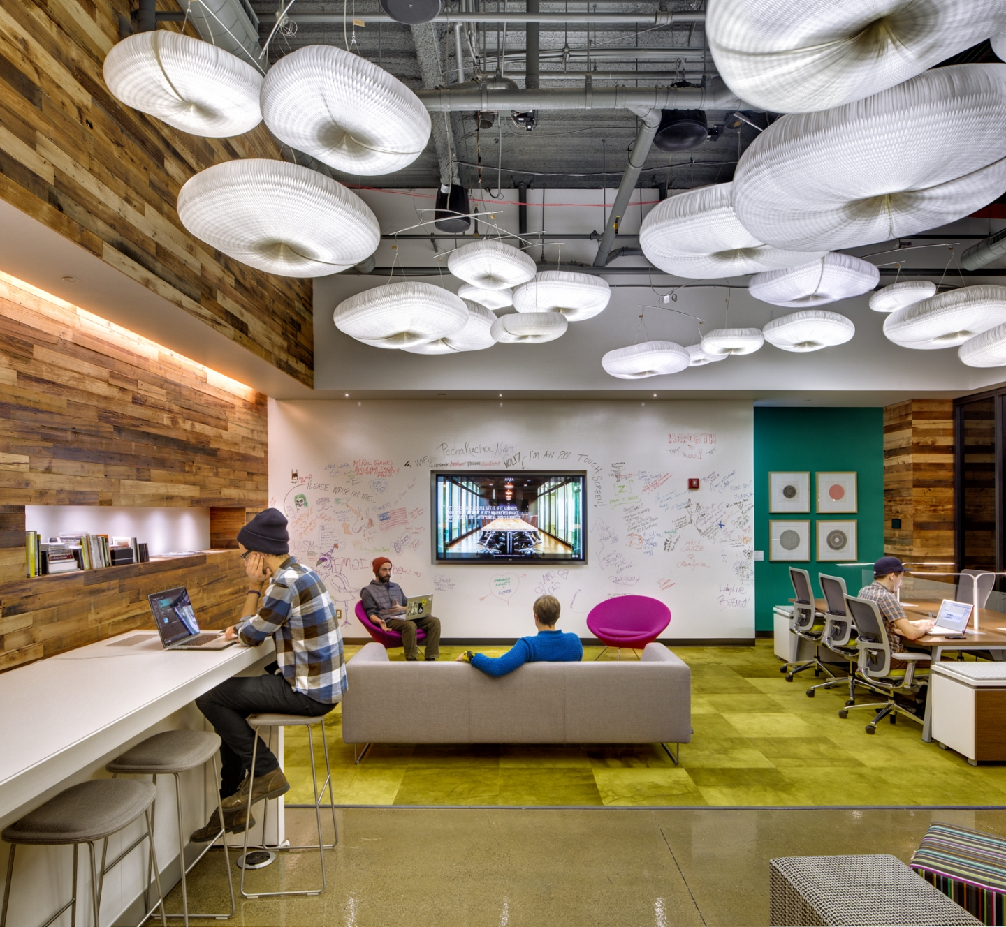 molo daylight white cloud mobiles at the AIREA offices in Detroit