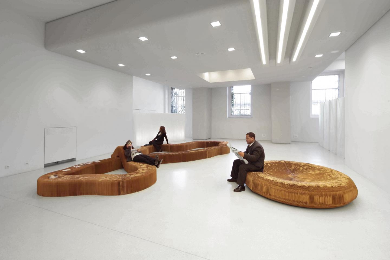 molo brown paper softseating at Cité de l'Architecture du Patrimoine