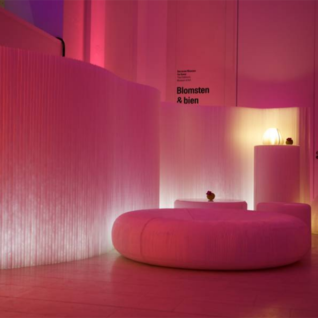 molo white textile softwalls and softseating lounger at the Deutsche Bank Event at National Gallery of Denmark
