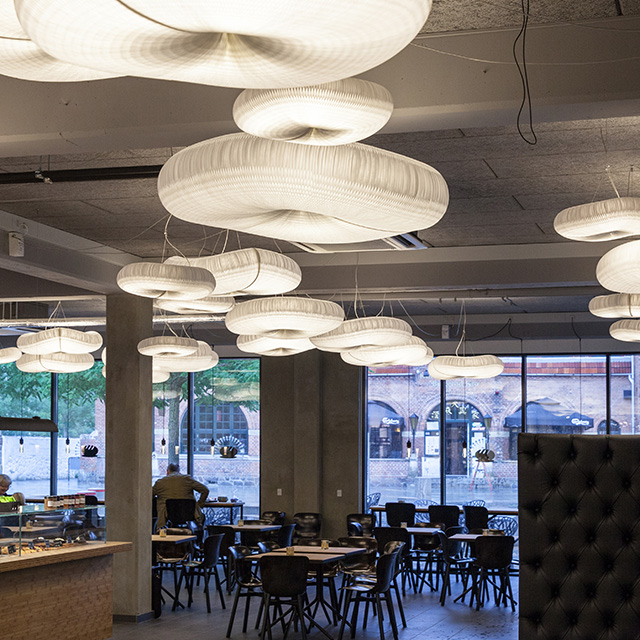 molo cloud light pendants at the Farumhus Konditori cafe in Birkerød