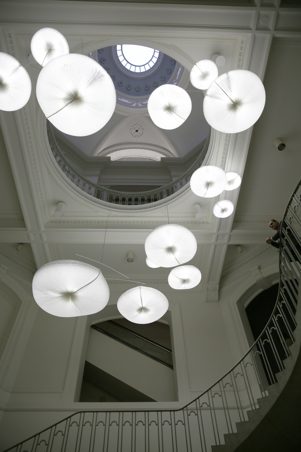 cloud softlight with daylight white LED and black paper softseating installed at the Vancouver Art Gallery for the exhibition Grand Hotel