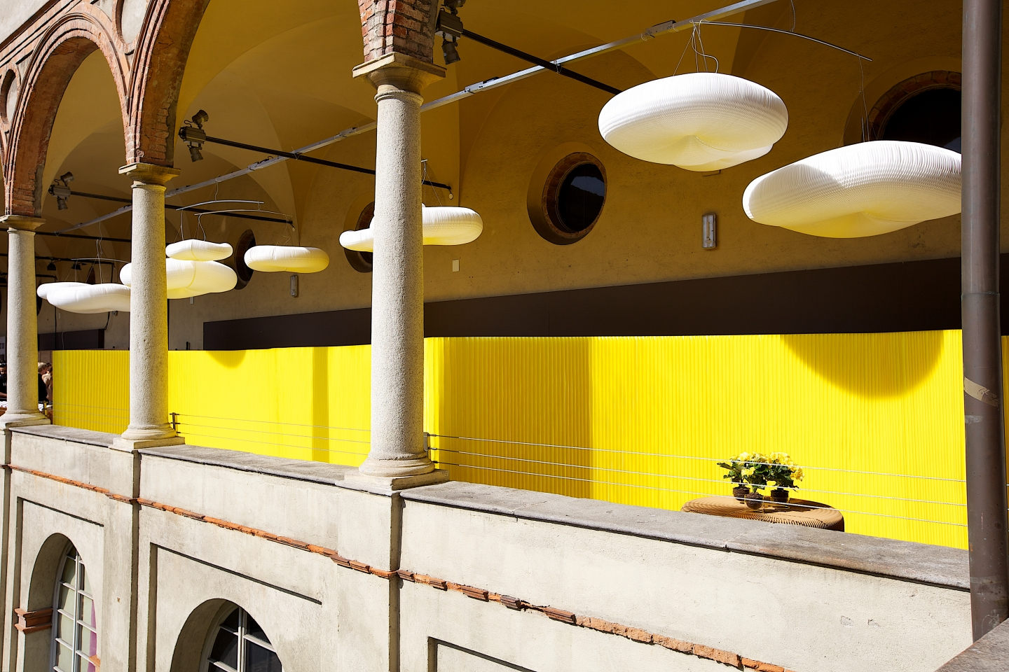 textile softwall in a custom yellow colour and cloud mobile softlight for MOST in Milan