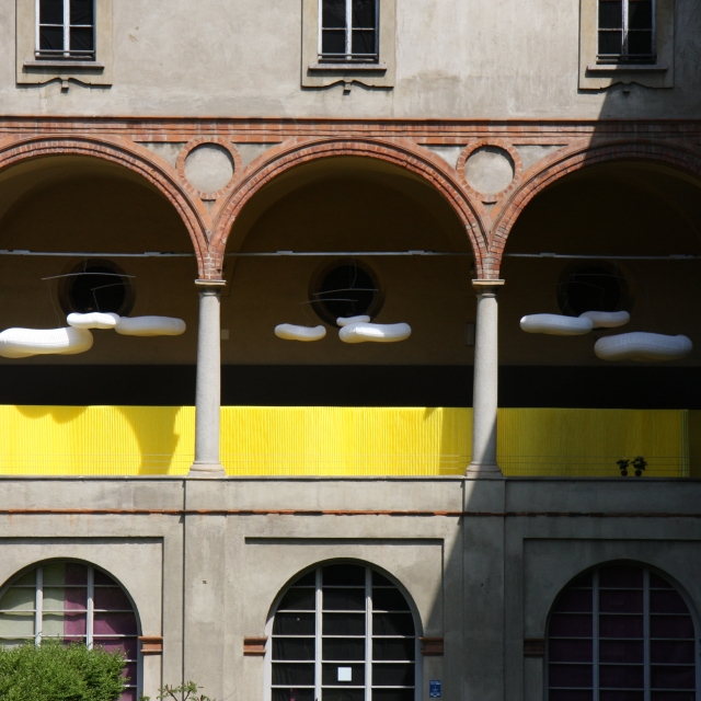 Italian palazzo in Milan with an installation of custom colour textile softwalls