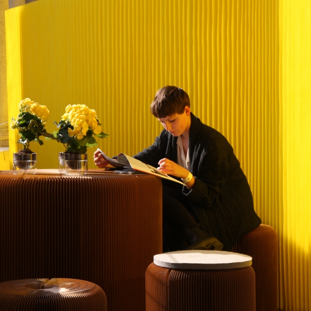 textile softwall in a custom yellow colour for MOST in Milan