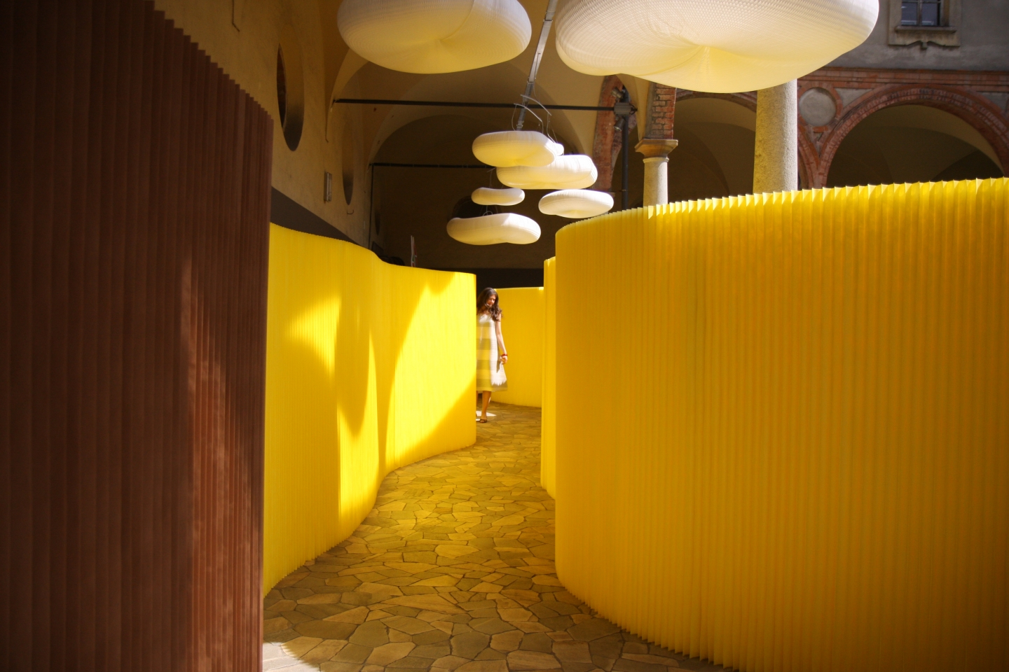 paper furniture by molo featuring room dividers in custom yellow, paper lighting