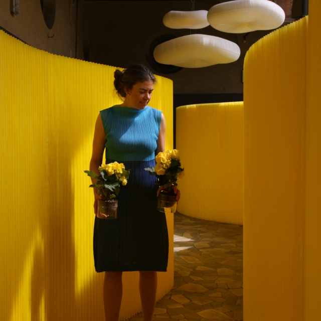 textile softwall in a custom yellow colour and cloud softlight mobile for MOST in Milan