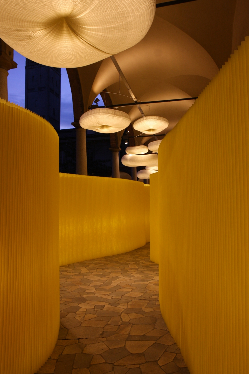 modern paper lighting / custom textile wall partitions by molo