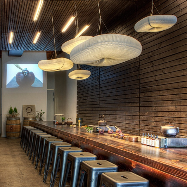 molo cloud light pendants at the O5 Rare Tea Bar in Vancouver