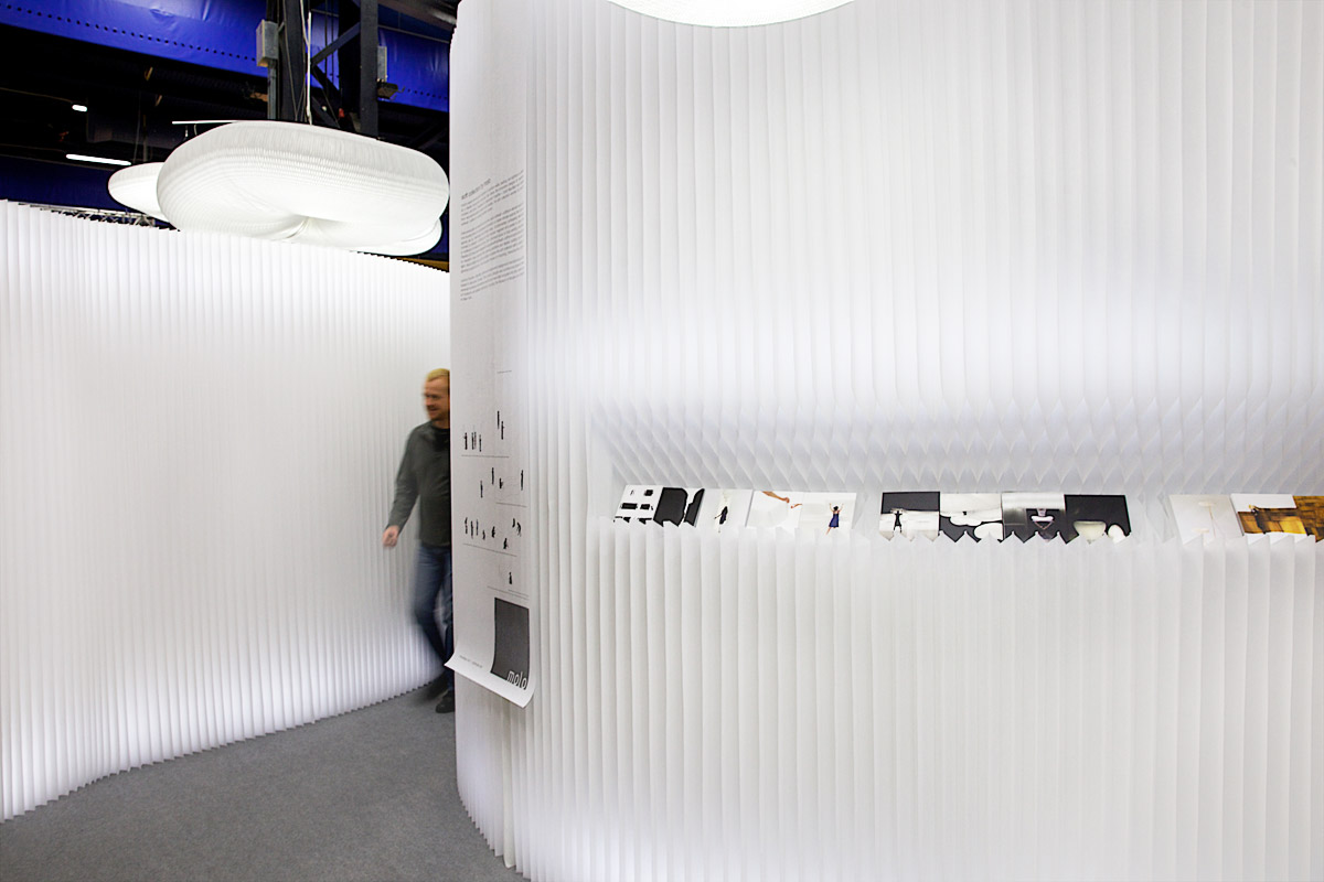 a notch cut in softwall used for displaying print and promotional materials