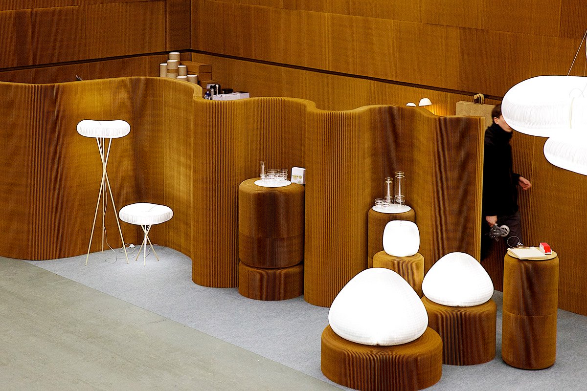 paper furniture and lighting by molo - molo's installation at Stockholm Furniture Fair in 2014