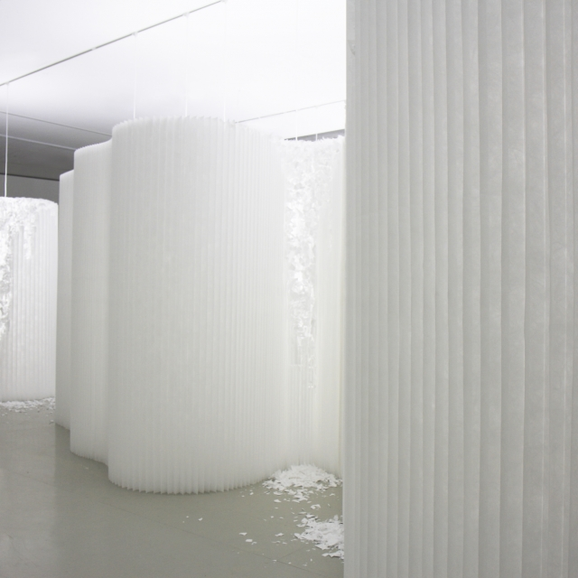 custom white textile softwalls at molo's installation 'delicate erosion: a study in light and ephemeral space' at the Centro de Arte Caja de Burgos in Spain