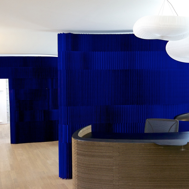 brown paper thinwall, indigo blue softblocks and cloud softlight pendants at the GrapeDesign showroom in Copenhagen