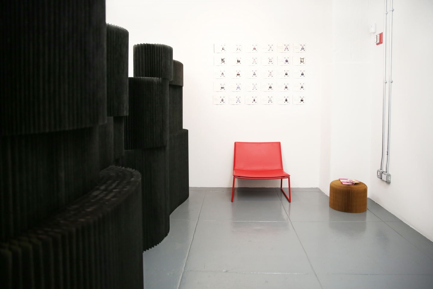 molo black textile softblocks and paper softseating at Moleskine offices in New York