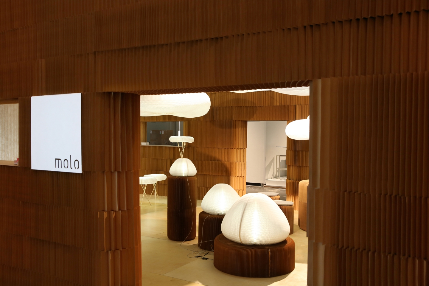 paper lighting display - Selections from molo's softlight line framed by stacked paper softblocks.