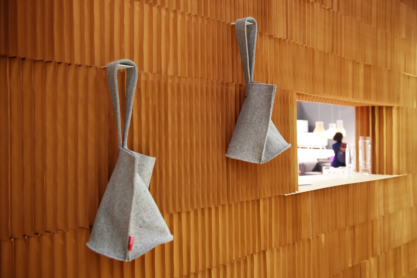 wool hobo bags on display in molo's booth at ICFF 2013.