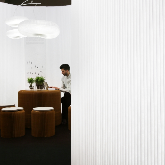 molo's installation at ICFF 2014 featured cloud softlight, modified textile and benchwall