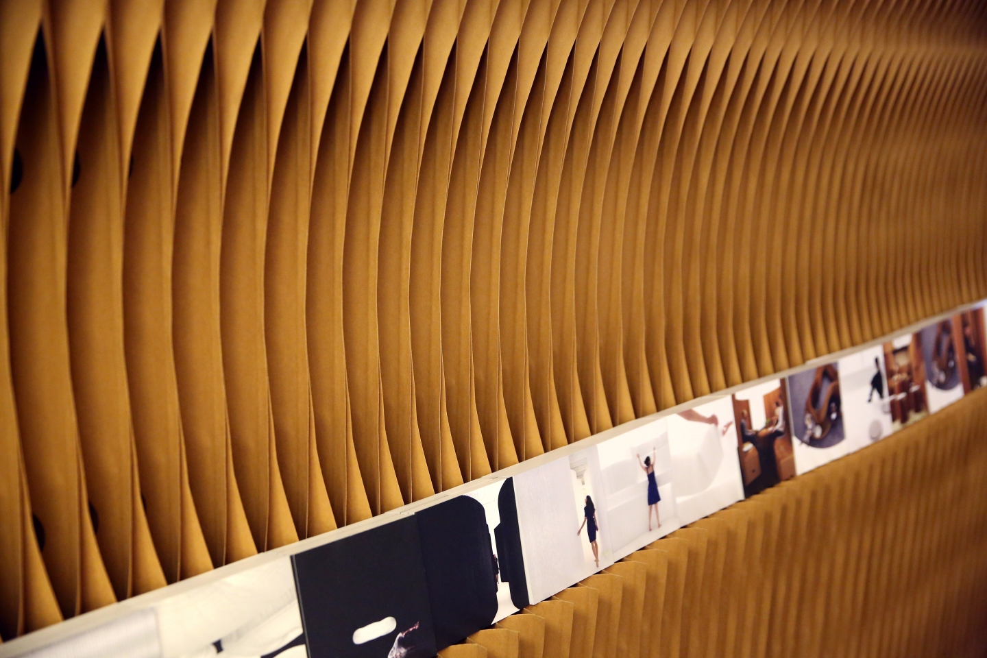 paper wall by molo - notch cuts can be made in softwall for demonstrating print materials