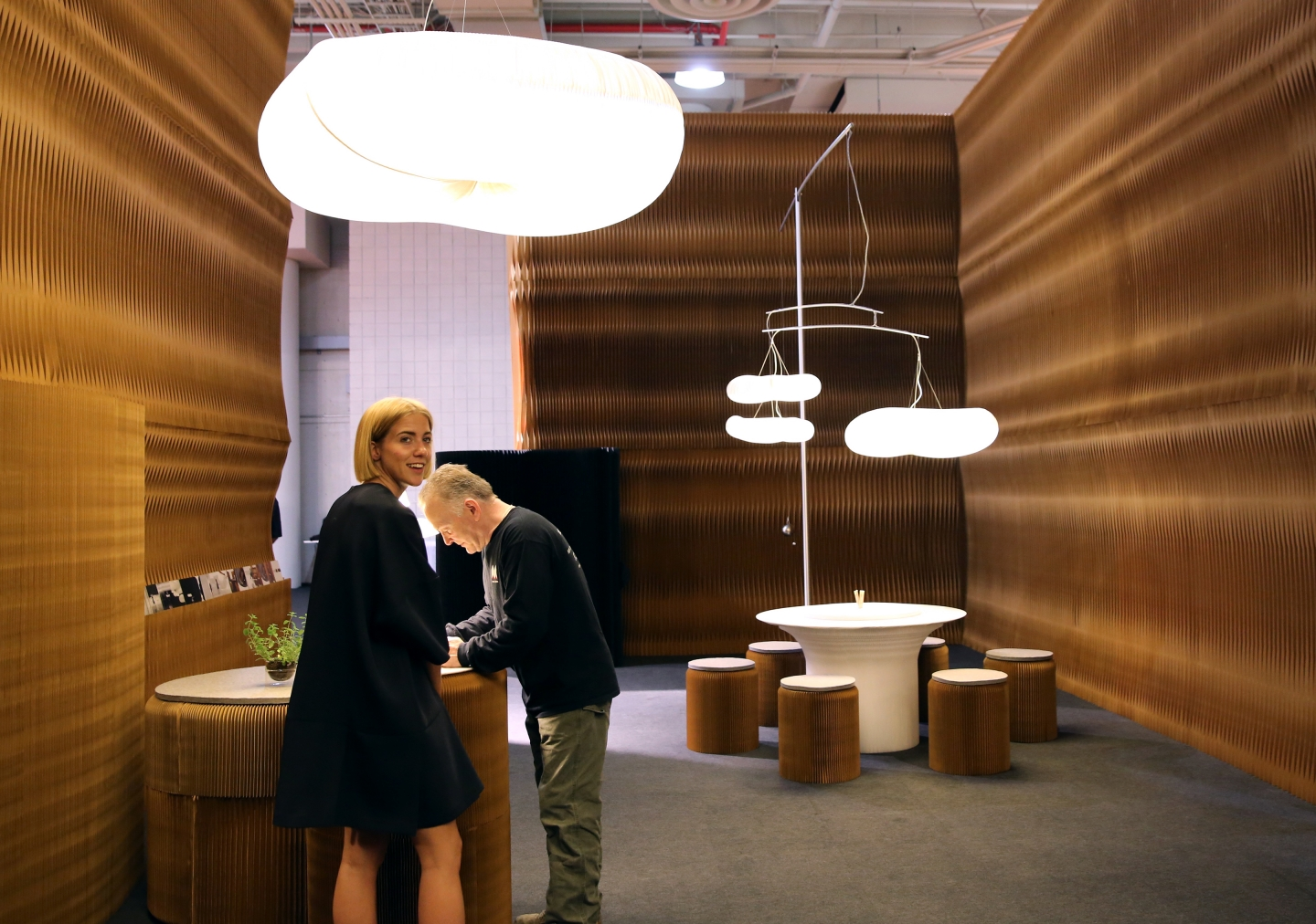 paper lighting and accordion paper furniture by molo - molo's installation at ICFF 2016