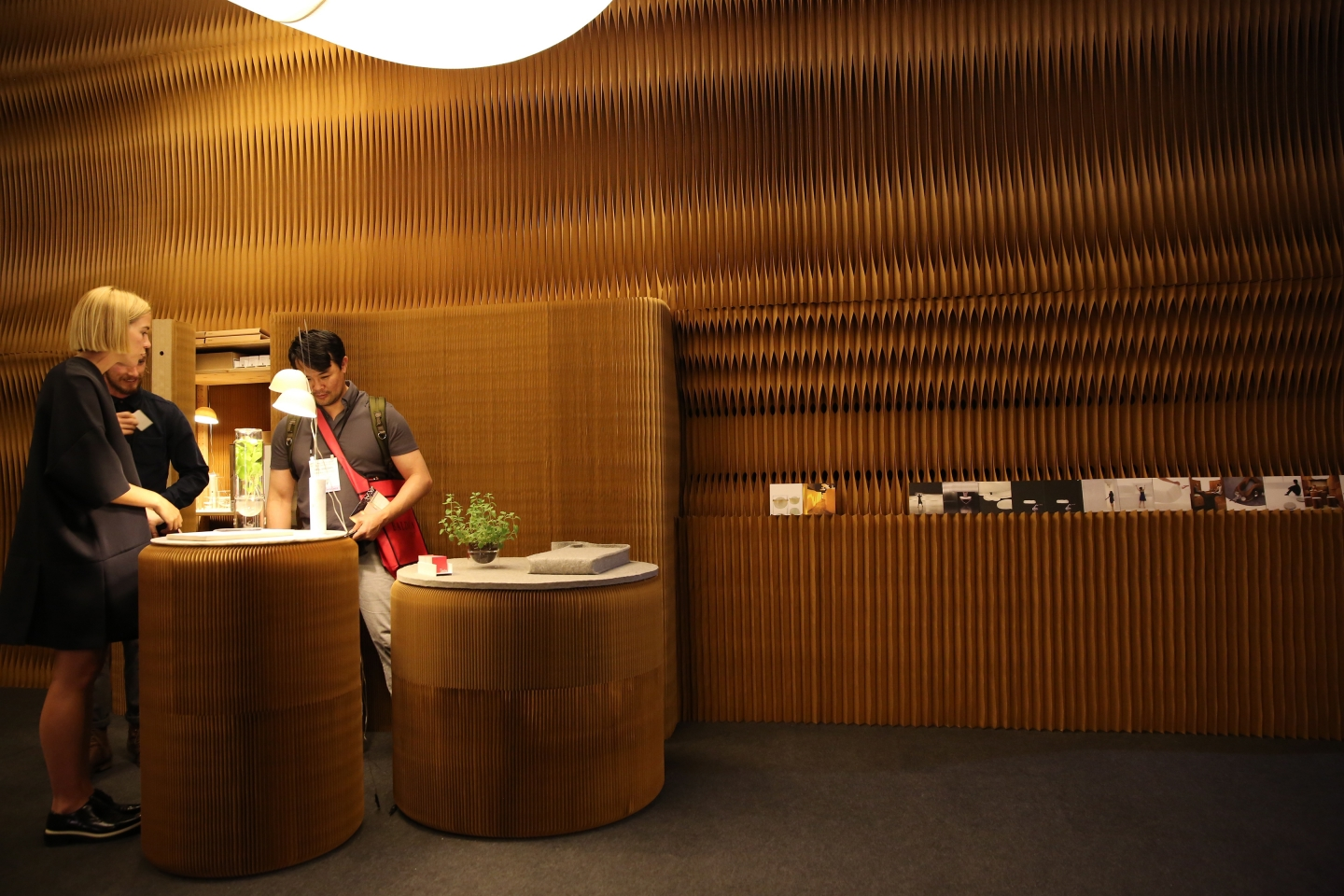 paper lighting and accordion paper furniture by molo -notch cuts in kraft paper softwalls as demonstrated at ICFF 2016