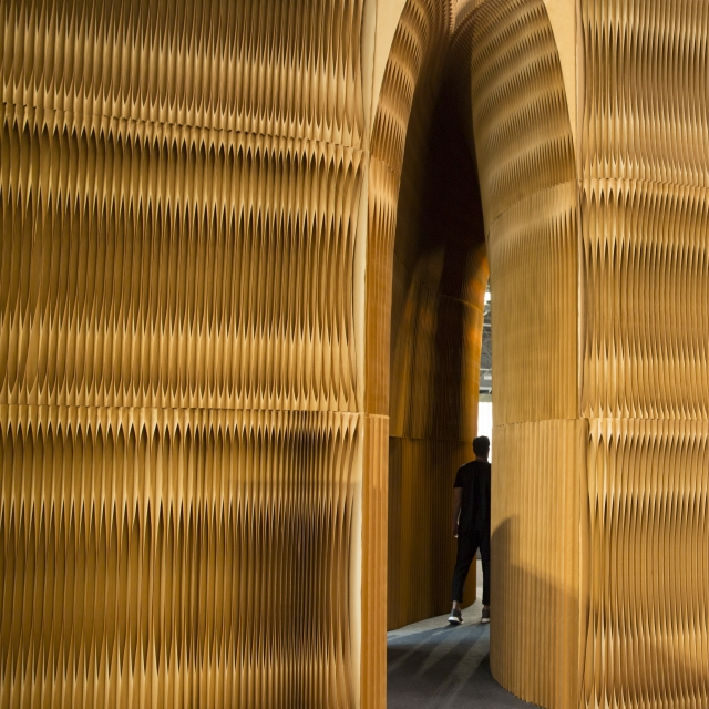 inspired by sea caves, a monolithic fissure made from softwalls wound through the ICFF installation