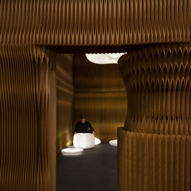 framed view into the urchin softlight cave at molo's installation for ICFF 2017