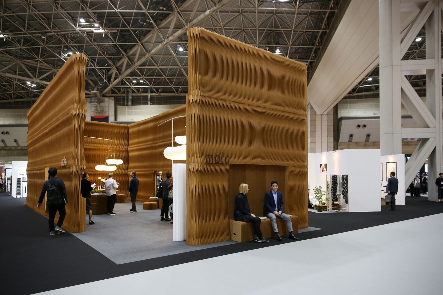 paper partitions / accordion wall by molo - molo's installation at IFFT in Tokyo, Japan