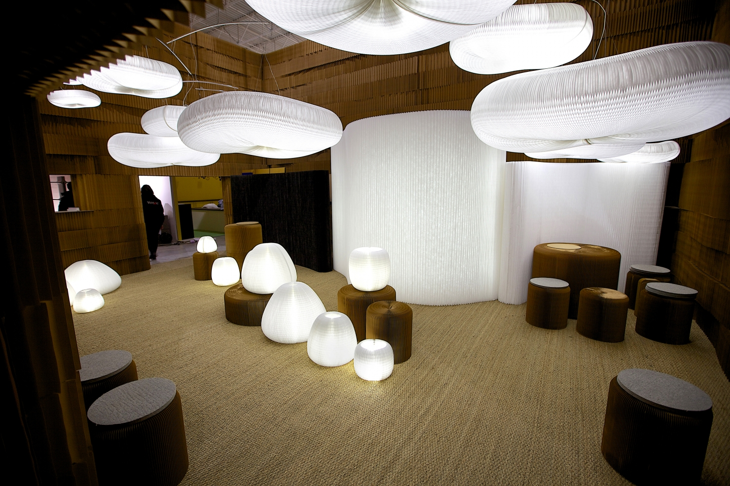 acoustic pendant lighting - The complete installation at Maison & Objet 2013, featuring urchin and cloud softlight, paper softblocks and textile softwall illuminated by LED.