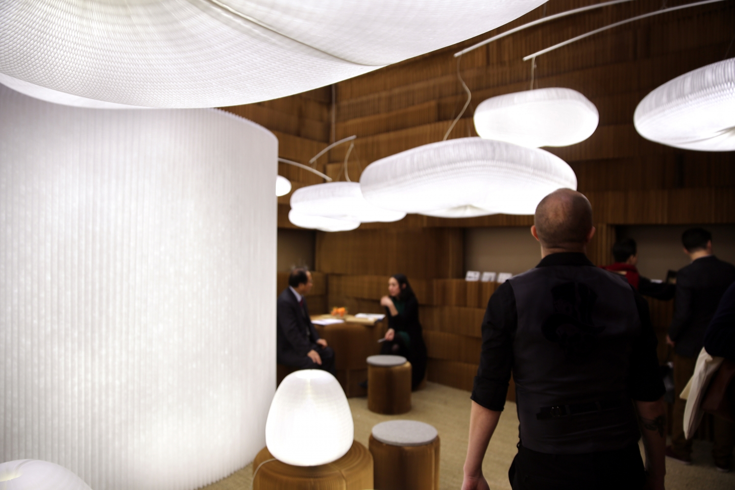 molo's booth at Maison & Objet featured textile softwall with integrated LED, as well as the visually cohesive softlight line. paper lighting at it's best