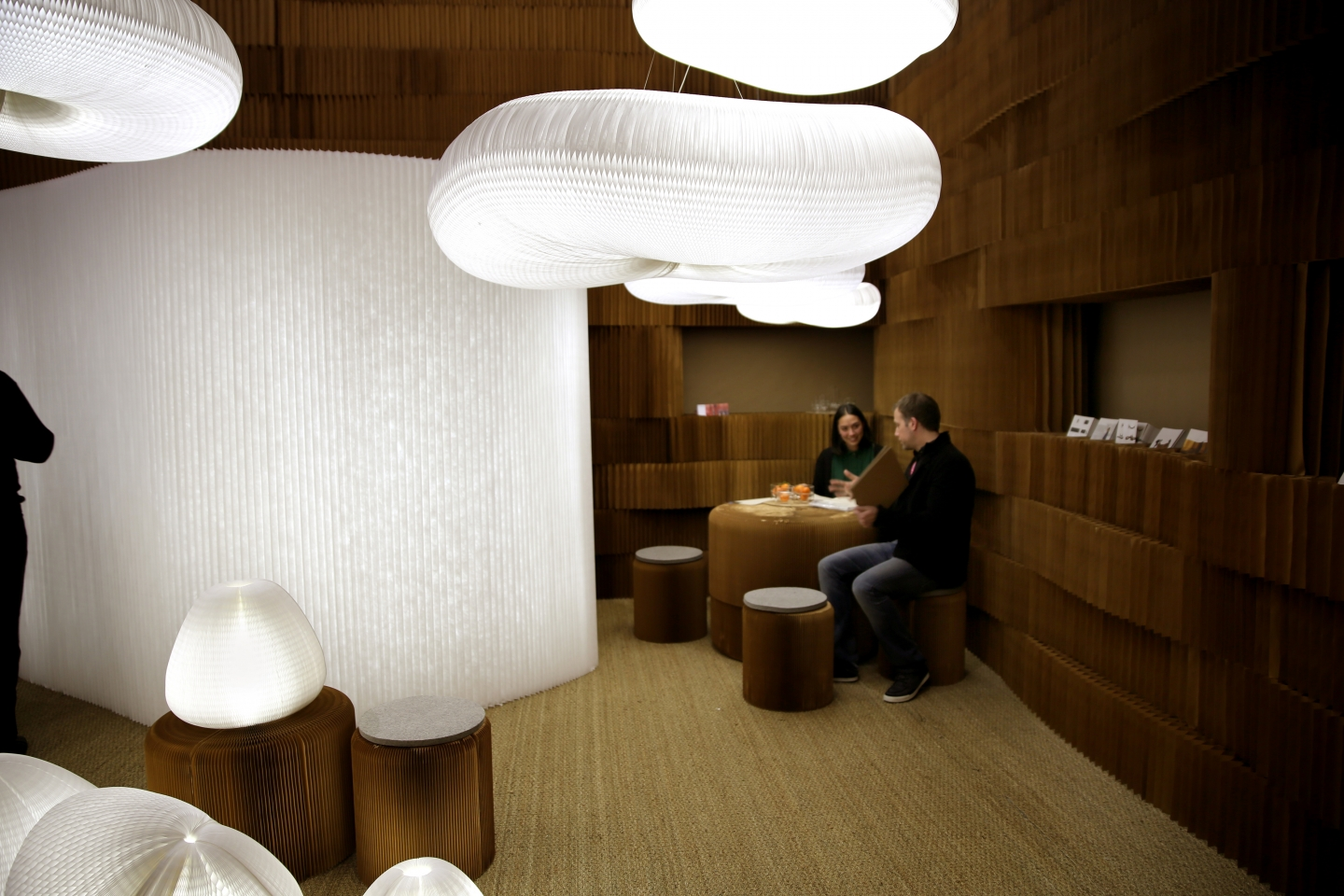 molo booth at Maison & Objet 2013. portable paper stool / cloud softlight by molo