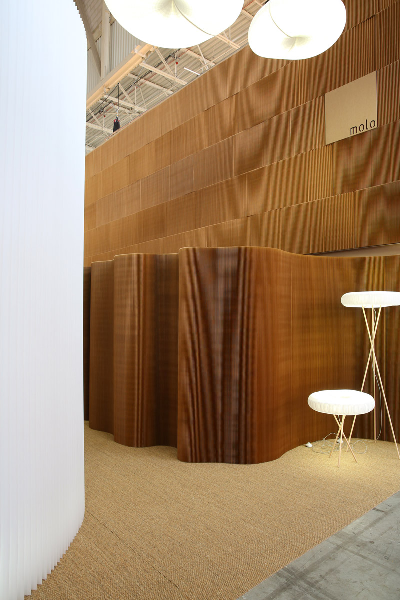 A glimpse into molo's installation at Maison & Objet 2014. cloud table + floor are highlighted against a backdrop of paper thinwall.