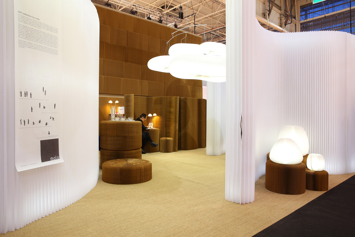molo's textile and paper furniture display at Maison & Objet in 2014, with softwalls framing a space to display cloud softlight and softseating.