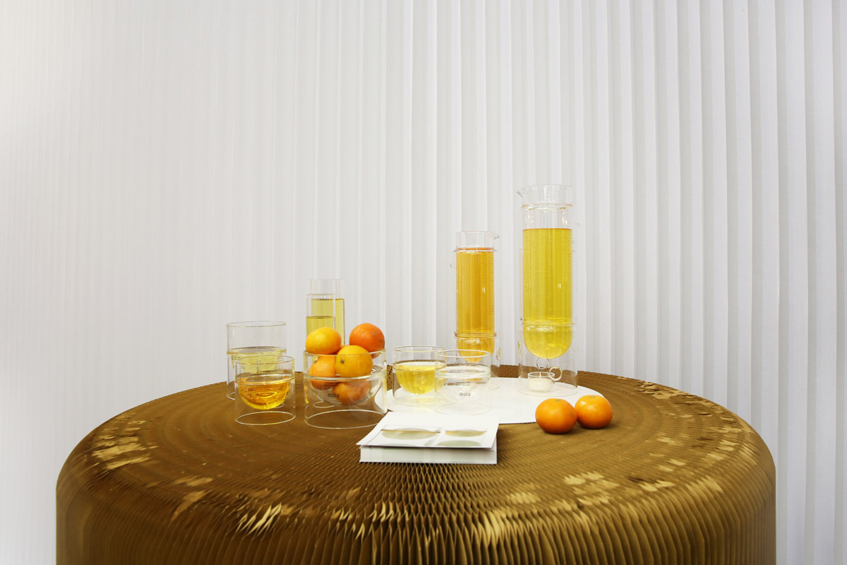the float glassware collection on display at Stockholm Furniture Fair