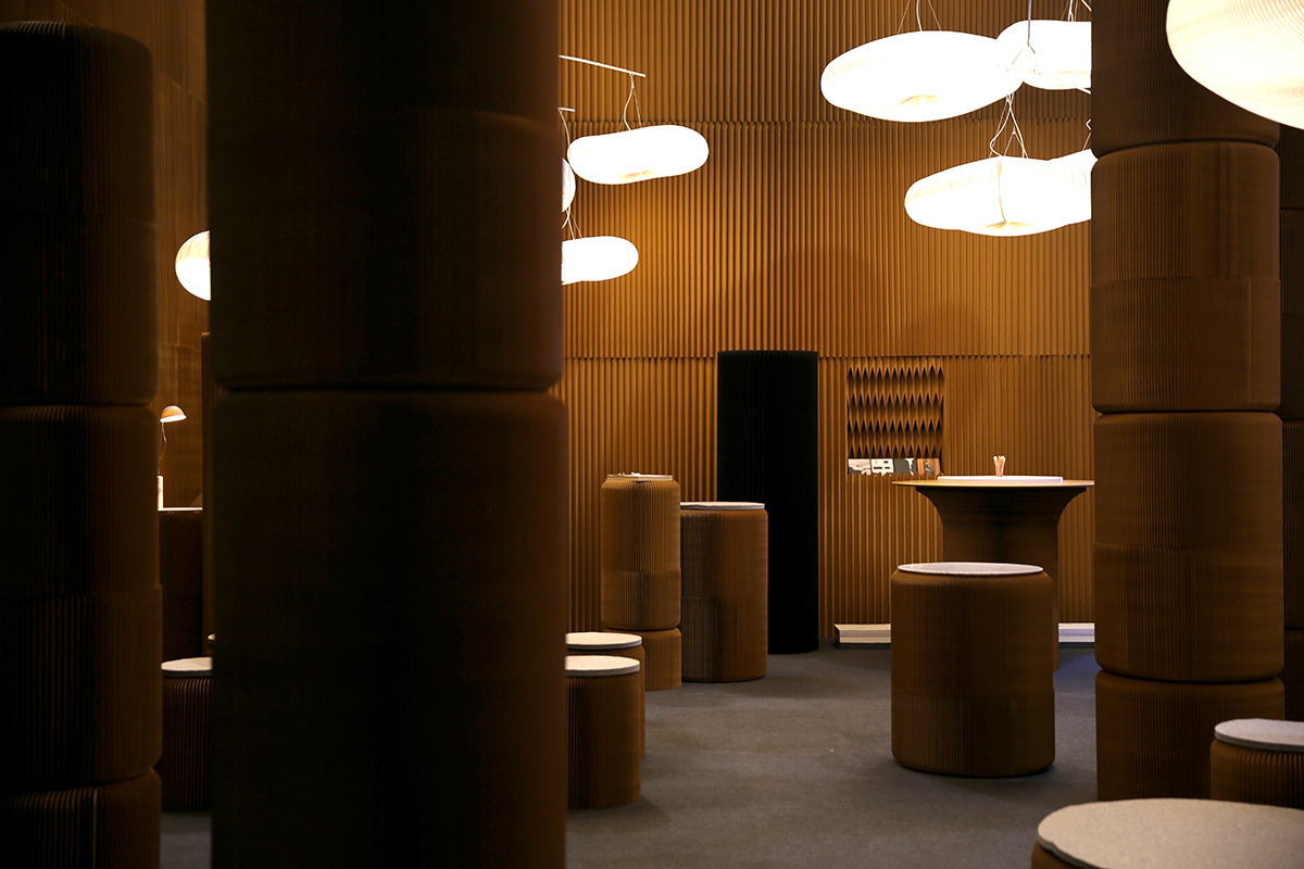 paper lighting, paper stools and modular paper furniture - molo's installation at Maison & Objet, 2016