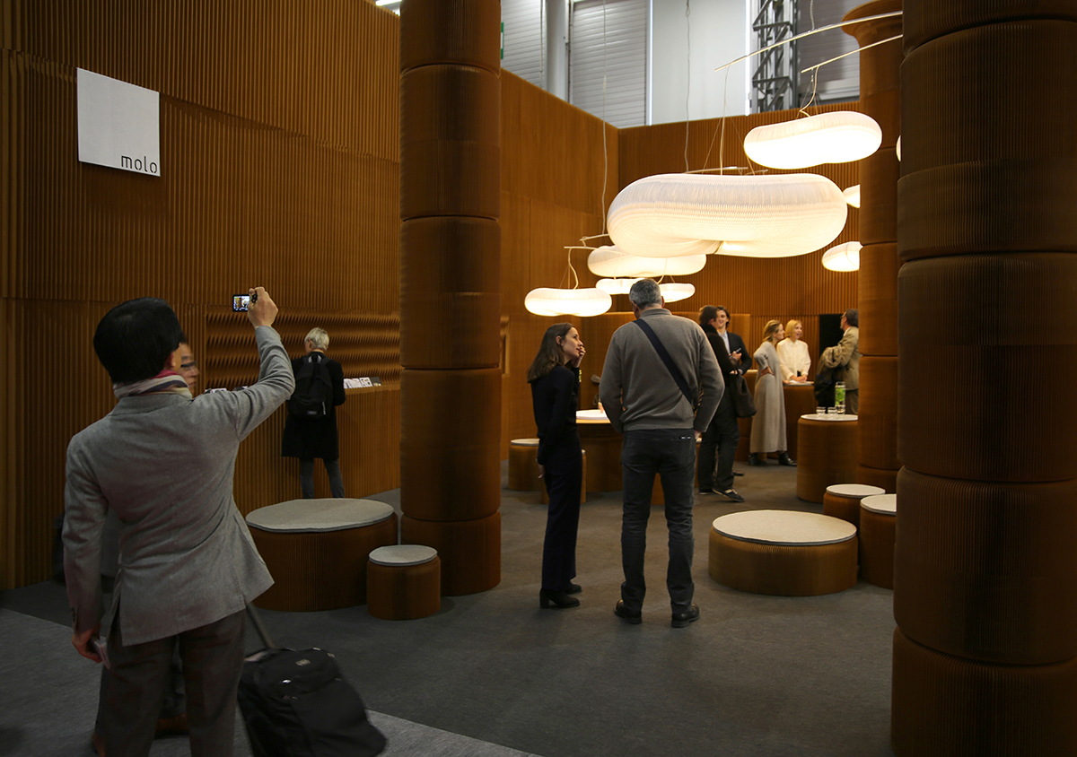 modular paper furniture - molo's installation at Maison & Objet featured a forest of columns made from softseating fanning stools, 2016