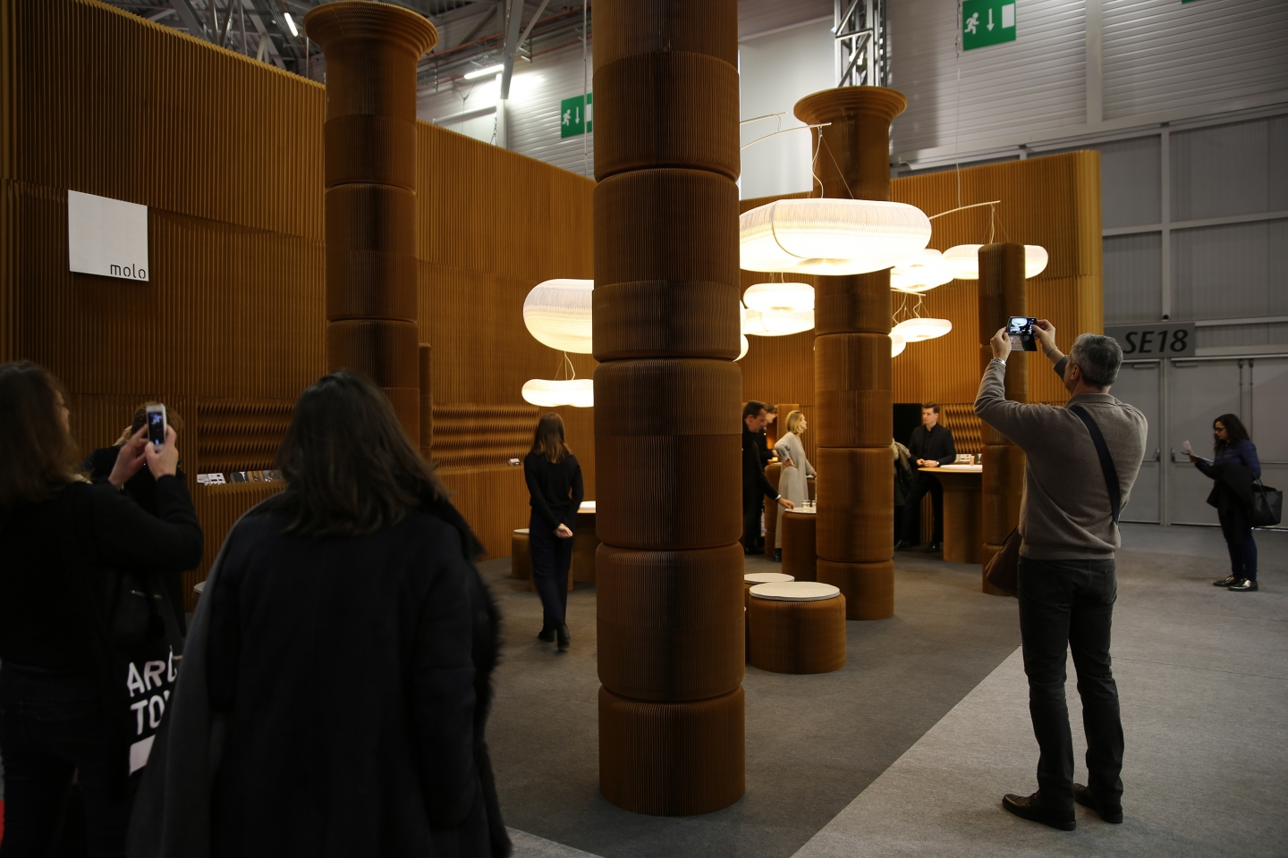 modular paper furniture by molo - molo's installation at Maison & Objet featured a forest of columns made from softseating fanning stools, 2016